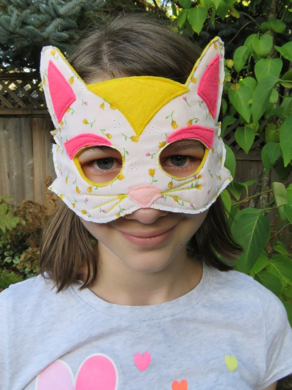 Sweet Fabric Cat Mask Costume For Girls
