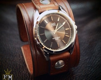 Leather cuff Watch Brown bridle leather Rich vintage style Wristband watchband, wrist watch made for YOU in NYC by Freddie Matara