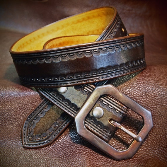 "Brown leather belt Tooled Western border Distressed buckle 1-3/4"" wide handmade for YOU in NYC by Freddie Matara"