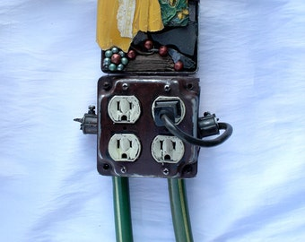"Angel - Recycled Artwork ""Angel Plug In"" - Mixed Media Sculpture"