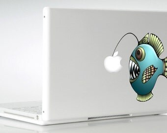 Anglerfish Decal MacBook Mac Pro Air Vinyl Sticker Angler Fish Laptop Decals Logo Colorful Apple Lanternfish Lantern Fish