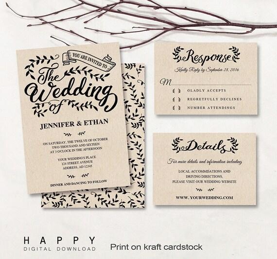 Printable Wedding Invitation Sets: Printable Wedding Invitation Set Editable Wedding Invitation