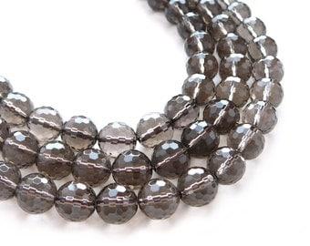 Smoky Quartz 12mm Faceted Round Semi Precious Stone Beads - 16 inch Strand - 34 beads
