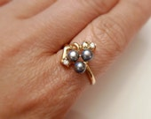 Amabelle Black . cultured pearl ring . GP 14K . sizes 6.5 / 8 / 8.5
