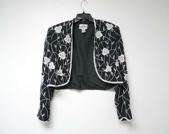 Camille Marie . floral embroidered pure silk light jacket . extra large