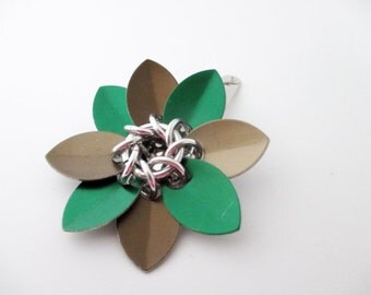 Green and Bronze Scale Maille Flower Hair Clip