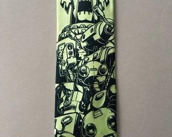 GREEN Necktie - Giant Robot Tie - Men's TOTEM Necktie