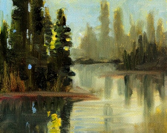 Original Landscape, Oil Painting, Evergreen Trees, Lake, Dusk Reflections, 6x8 Canvas, Outdoor Forest Scene, Blue Green, Woodland River