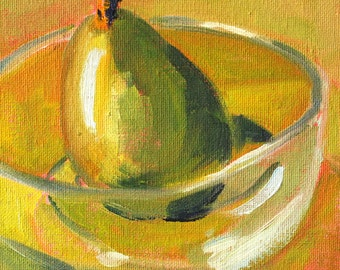 Still Life Oil Painting, Original Green Pear, Small 6x6 Canvas, Gold, Glass Bowl, Kitchen Wall Decor, Square Format, Food Art