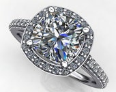 Private Listing for Kayleigh - anya ring - 3 carat forever one moissanite engagement ring, diamond halo ring