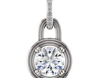 aurora necklace - forever one moissanite pendant, diamonds, 14k white gold