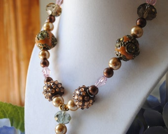 Beaded Necklace and Earrings Set Pinks and Browns