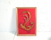 Vintage string art peacock, framed, red background, gold string, gallery wall approved