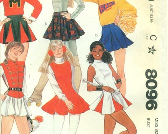 McCall's 8096 Cheerleader, Marjorette, Ice Skater UNIFORM COSTUMES ©1982 Short Skirts with Godets, Tabard, Briefs