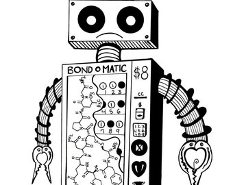 Coloring Art Print Robot #4 The Bond O Matic 11x17 Poster Art For You To Color and Frame with FREE Markers