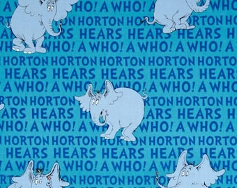 Dr. Seuss Horton Hears a Who blue cotton quilting fabric