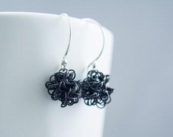 Dark Matter Jewelry, Black Silver Earrings, Science Geek Jewelry Gift For Her