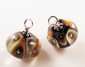Brown and Cream Murano Glass Ear Drops for Earrings, Accented with Sterling Silver, Interchangeable, Valentine's Gift, Mother's Day Present