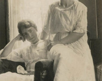 vintage photo 1920 Sisters Sit Summer White Dresses Sunlit Window on Chair