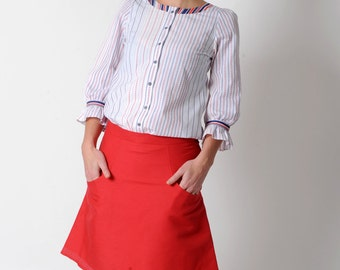 White striped shirt, Womens cotton shirt, Red white blue shirt, Ruffled sleeves, Office fashion