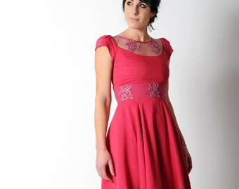 Pink cocktail dress with embroideries, Hot Pink dress with sheer neckline, Beaded lace dress, Pink wedding dress, Short sleeved  sz UK 10