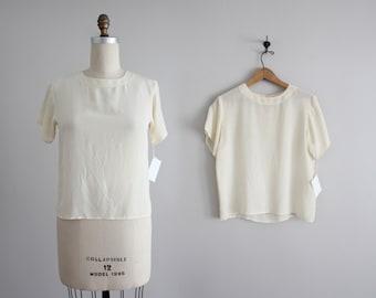 cream silk tee | vintage cream silk blouse