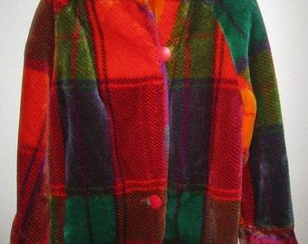 Faux Fur Coat - Plaid Multi-colored Print - Vintage 80's by Monterey Fashions - Size Medium