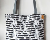 On My Way Black, White and Gray Zebra-ish Striped Pattern Tote Bag