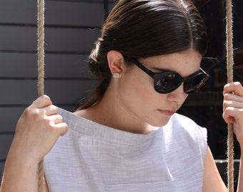 Champaign Druzy Cube Earrings - Raw Plated Crystal Quartz Chunk Earrings - Geo Drusy Earrings - Quartz Chunk Earrings