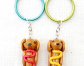Mustard & Ketchup Wiener Dachshund Keychains Set of Two - Blue Green Rings