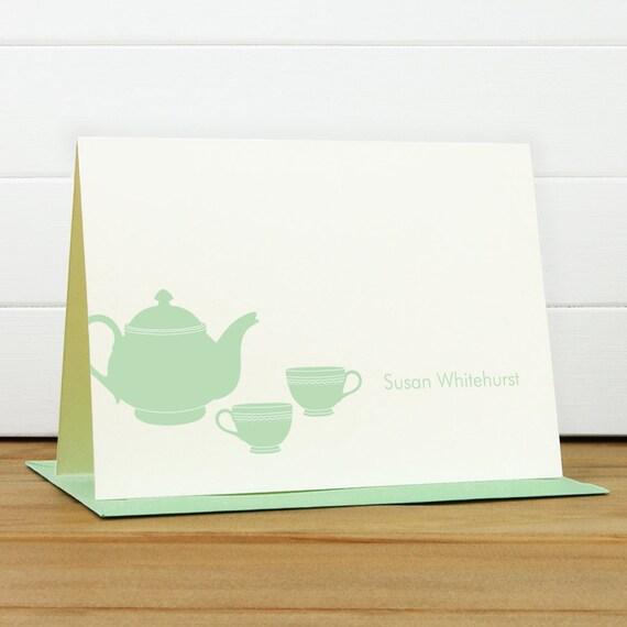 Custom Stationery / Custom Stationary - TEAPOT Custom Notecard Set - Silhouette Tea Pot