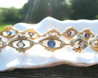 Art Nouveau Diamond and Sapphire Gold Bracelet, Fiery Old European Diamonds, Old Blue Sapphires, 14K, Elegant Foliate Design, 27.4 grams