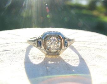 1920's Art Deco Diamond Sapphire Engagement Ring, Fiery Old European Cut Diamond, Elegant Leafy Engraving, 18K White Gold