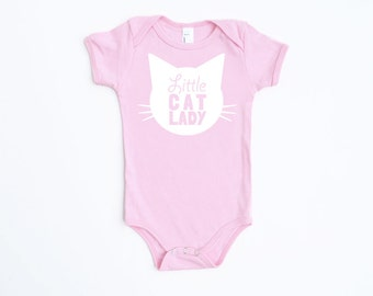 Little Cat Lady Cotton One Piece in Pink with White print - Newborn, Baby Shower Gift, Cat Baby, Infant, Cat Lover, Cat People