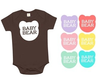 Baby Bear Brown Organic Cotton One Piece Romper - Family Photos, infant, Expecting, New Baby, Baby Shower, Announcement