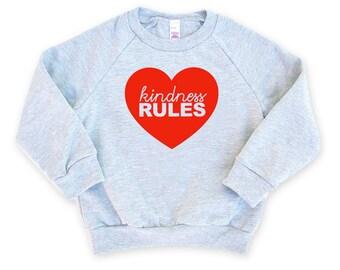 Kindness Rules Heather Grey Raglan Sleeve Sweatshirt - Hugger, Love, Be Kind, Hippie, Peace, Squeeze, Family Photos, Mom and Me