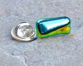 Dichroic Glass Tie Tack Pin / Stud Brooch - Shimmering Iridescent Metallic Effect - Silver Clutch and Pin Fitting - Gift Boxed