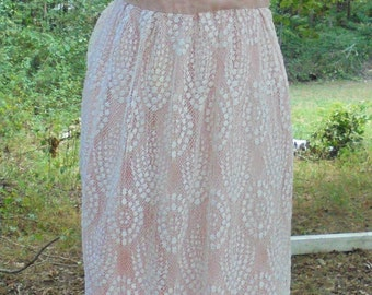Pink lace dress cotton ivory  frock  boho summer wedding small  from vintage opulence on Etsy