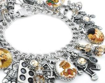 Gingerbread Man Charm Bracelet, Silver Charm Bracelet, Christmas Jewelry