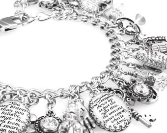 Personalized quote Charm Bracelet, Personalized Inspirational Charm Bracelet, Inspirational Quote Jewelry, Quotes to inspire you