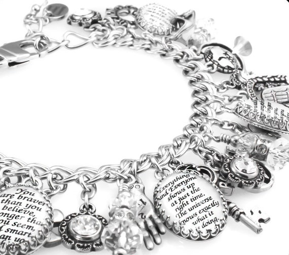 Design Your Own Custom Bangle Charm Bracelet Pick Your Charms: Personalized Quote Charm Bracelet Personalized Inspirational