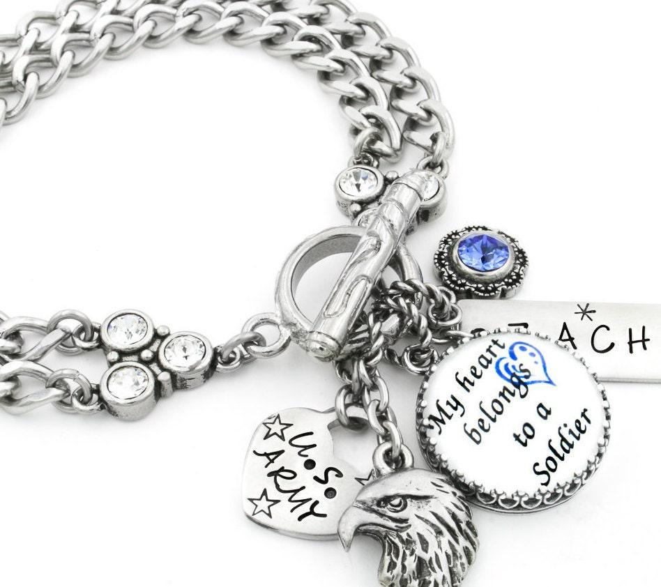 Customized Charm Bracelet: Military Army Charm Bracelet Military Jewelry Personalized