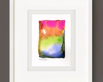 "Abstract Watercolor Painting, Spiritual Art, Minimalist Colorful, pink, yellow, orange, green ""Finding Serenity 7"" Kathy Morton Stanion EBSQ"