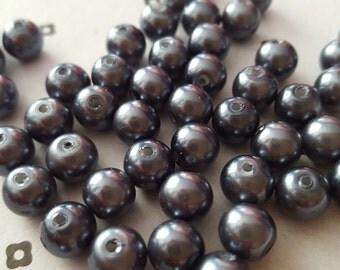 Dark Grey 8mm faux pearls (50 beads)