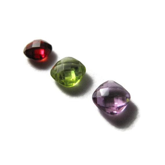 Three NON DRILLED Gemstones, Peridot, Garnet and Amethyst Stones for Making Jewelry & Setting, 6x4mm Gemstone (Luxe-Nd2c)
