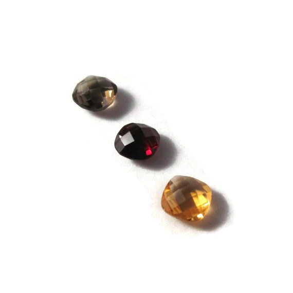 Three NON DRILLED Gemstones, Citrine, Garnet and Smoky Quartz Stones for Making Jewelry & Setting, 6x4mm Gemstone (Luxe-Nd2a)