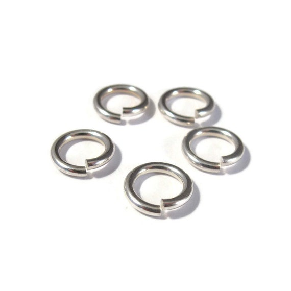 10mm Open Rings, 5 Hard Snap .925 Sterling Silver Jump Rings, 14 Gauge, Jewelry Findings, Connectors, Strong Big Jump Rings (H-SJH4)