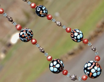 Southwest Garden - K O Lampwork Sterling Silver Necklace