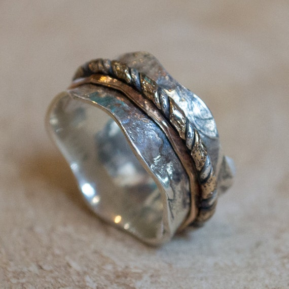 Sterling silver band, silver gold ring, statement ring, wedding band, vine band, two tones band, wave band, botanical - Crossing ways R2092