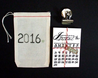 2016 Calligraphy Calendar, The Little Letterpress Calendar, Original Hand Lettering, Unique Stocking Stuffer Gift